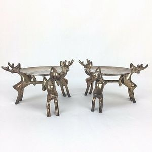 Reindeer Candle Holders Silvertone Set of 2